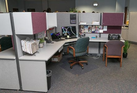 brand new, neat office cubicles in a new office