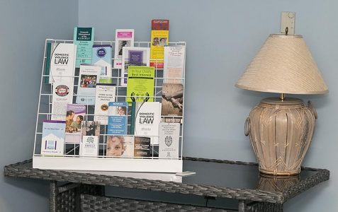 rack of informational pamphlets