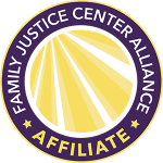 yellow and purple seal for a family justice center alliance affiliate